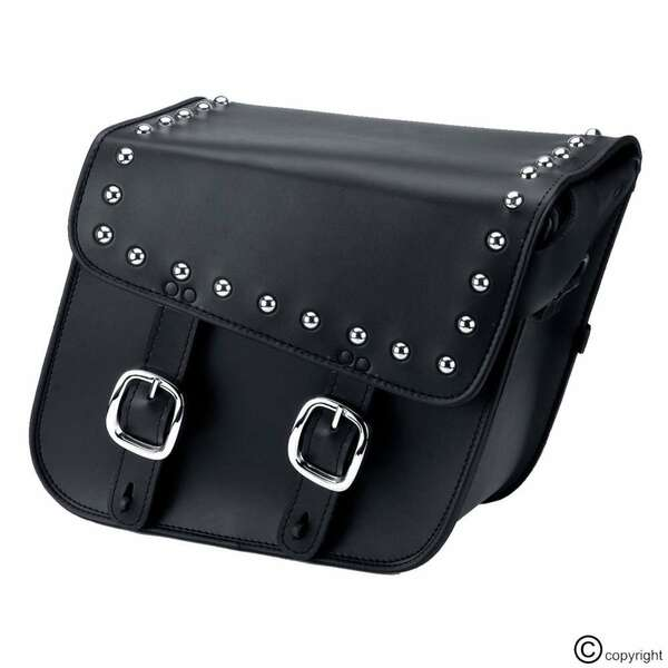 Nomad Slanted Large Studded Leather Motorcycle Saddlebags with Buckles 1