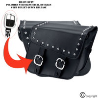 Nomad Slanted Large Studded Leather Motorcycle Saddlebags with Buckles 3