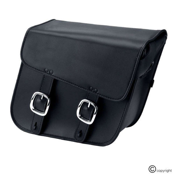 Nomad Slanted Medium Black Leather Motorcycle Saddlebags with Buckles 1