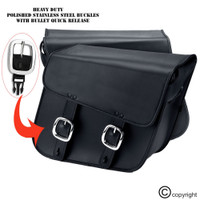 Nomad Slanted Medium Black Leather Motorcycle Saddlebags with Buckles 3