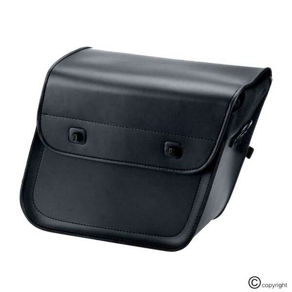 Nomad Slanted Medium Plain Black Leather Motorcycle Saddlebags  1