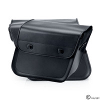 Nomad Slanted Medium Plain Black Leather Motorcycle Saddlebags 3