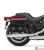 Nomad Slanted Medium Studded Leather Motorcycle Saddlebags with Buckles 2