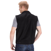 Viking Cycle Freedom Black Denim Motorcycle Vest Back Side
