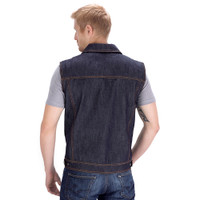 Viking Cycle Freedom Blue Denim Motorcycle Vest back Side