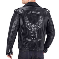 VikingCycle American Eagle Leather Jacket for Men