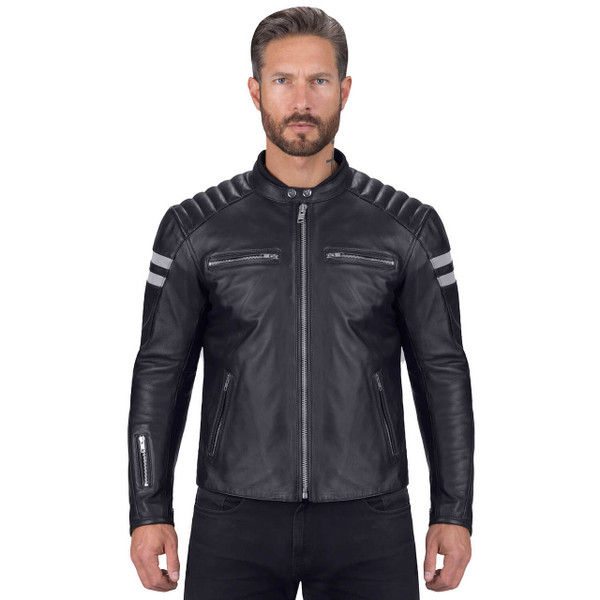 VikingCycle Bloodaxe Leather Motorcycle Jacket for Men