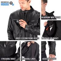VikingCycle Skeid Brown Leather Jacket for Men Black 3