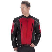 Vikingcycle Warlock Mesh Motorcycle Jacket for Men Red 1