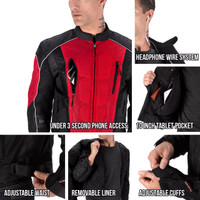 Vikingcycle Warlock Mesh Motorcycle Jacket for Men Red 4