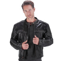 VikingCycle Warrior 2.0 Leather Motorcycle Jacket for Men 2