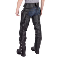 Nomad USA Braided Motorcycle Leather Chaps Back View