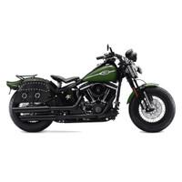 Harley Softail Cross Bones FLSTSB Charger Slanted Studded Leather Saddlebags
