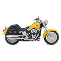 Harley Softail Fatboy FLSTF Charger Large Slanted Studded Leather Saddlebags