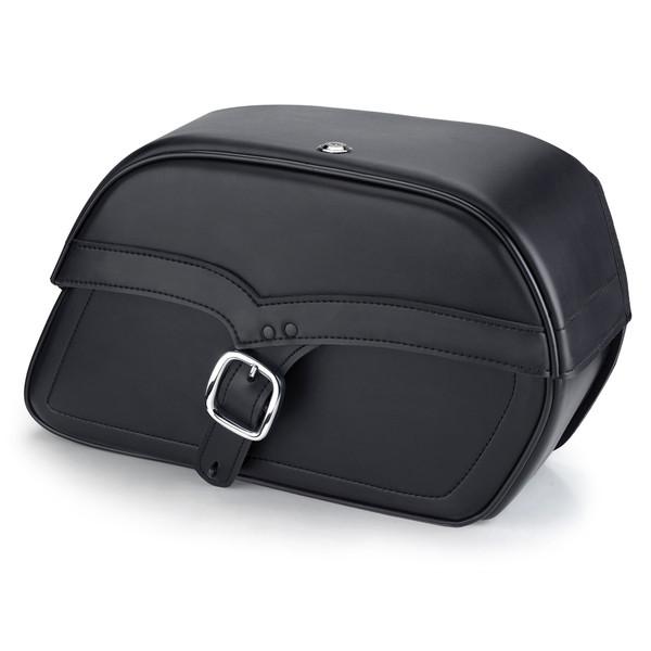 Harley Softail Fatboy FLSTF Charger Medium Single Strap Leather Saddlebags 1