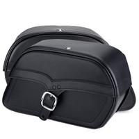 Harley Softail Fatboy FLSTF Charger Medium Single Strap Leather Saddlebags 4
