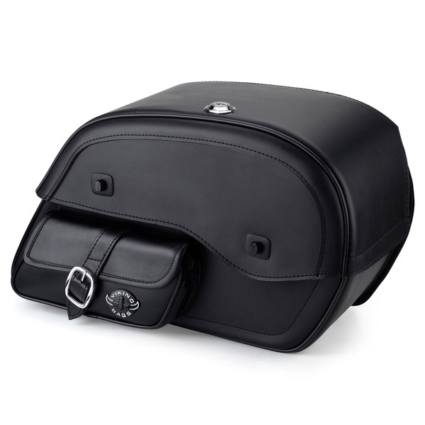 Harley Sportster 883 Low XL883L Charger Side Pocket Shock Cutout Leather Saddlebags 1