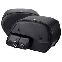 Harley Sportster 883 Low XL883L Charger Side Pocket Shock Cutout Leather Saddlebags 7