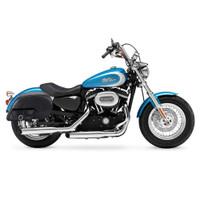 Harley Sportster 1200 Custom XL1200C Charger Side Pocket Shock Cutout Leather Saddlebags 2