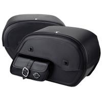 Harley Sportster 1200 Custom XL1200C Charger Side Pocket Shock Cutout Leather Saddlebags 4