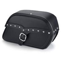 Harley Sportster 883 Custom XL883C Shock Cutout SS Large Slanted Studded Leather Saddlebags