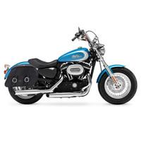 Harley Sportster 1200 Custom XL1200C Shock Cutout Large Slanted Leather Saddlebags