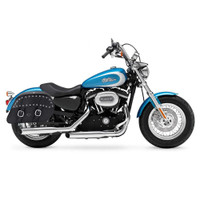 Harley Sportster 1200 Custom XL1200C Shock Cutout Large Slanted Studded Leather Saddlebags 2