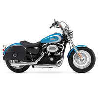 Harley Sportster 1200 Custom XL1200C Shock Cutout SS Large Slanted Leather Saddlebags