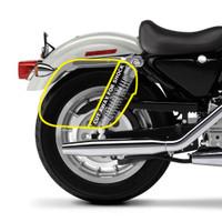 Harley Sportster 1200 Custom XL1200C Shock Cutout Warrior Large Slanted Leather Saddlebags