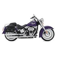 Harley Softail Deluxe FLSTN Charger Medium Slanted Studded Leather Saddlebags 2