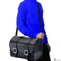 Nomad USA Leather Black Motorcycle Sissy bar Bag On Shoulder View