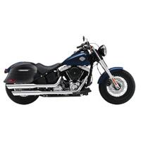 Viking Lamellar Slanted Extra Large Matte Black Motorcycle Hard Saddlebags For Harley Softail Slim 02