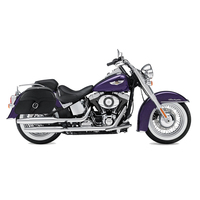 Viking Charger Single Strap Large Motorcycle Saddlebags For Harley Softail Slim 02