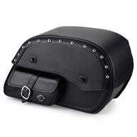 Viking Universal Side Pocket Studded Ss Large Motorcycle Saddlebags For Harley Softail Slim 01