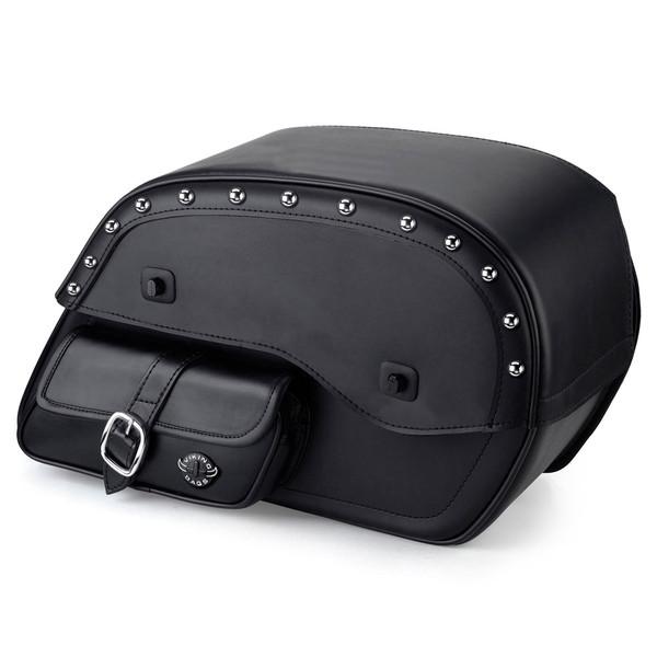 Viking Universal Side Pocket Studded Ss Large Motorcycle Saddlebags For Harley Softail Slim 01