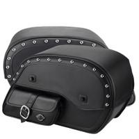 Viking Universal Side Pocket Studded Ss Large Motorcycle Saddlebags For Harley Softail Slim 03