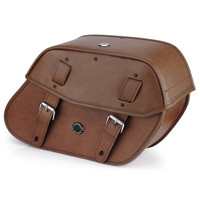 Viking Odin Brown Large Motorcycle Saddlebags For Harley Softail Fat Boy Lo