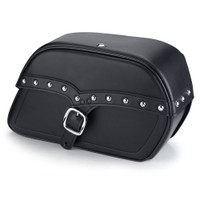Harley Softail Fatboy FLSTF Charger Large Single Strap Studded Leather Saddlebags