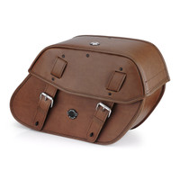 Yamaha Stryker Viking Odin Brown Large Leather Motorcycle Saddlebags