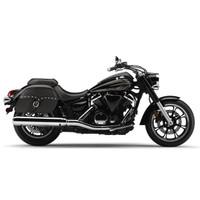Vikingbags Yamaha V Star 950 Large Universal SS Slanted Studded Motorcycle Saddlebags On Bike View