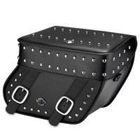 Viking Concord Leather Studded Large Motorcycle Saddlebags For Harley Softail Breakout