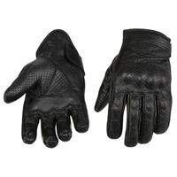 Viking Cycle Men's Premium Leather Perforated Motorcycle Cruiser Gloves