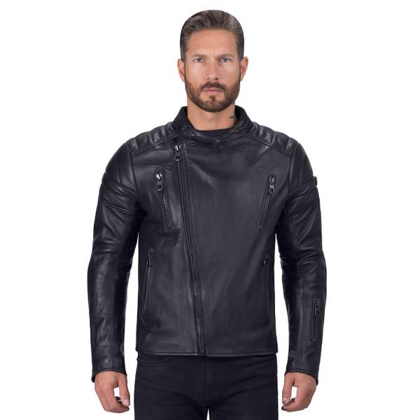 Viking Cycle Cafe Premium Black Leather Motorcycle Jacket for Men