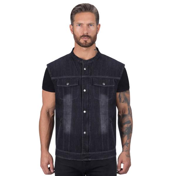 Viking Cycle Black Denim Motorcycle Vest for Men