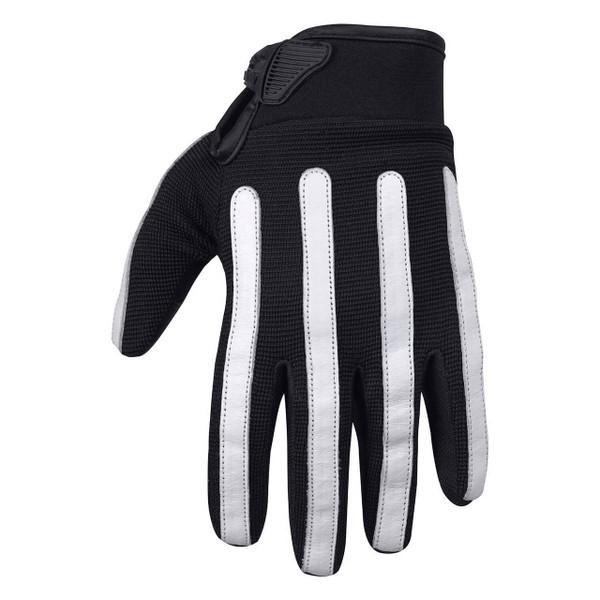 Viking Cycle Panache Riding Black/White Textile Motorcycle Gloves For Men