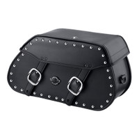 Viking Pinnacle Studded Large Motorcycle Saddlebags For Harley Softail Low Rider 01