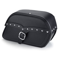 Triumph Rocket III Range Vikingbags Shock Cutout Single Strap Large Slanted Studded Leather Motorcycle Saddlebags Main Image
