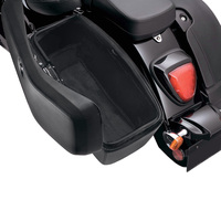 Viking Lamellar Slanted Leather Motorcycle Hard Saddlebags For Harley Softail Standard FXST On Bike View