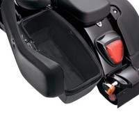 Viking Lamellar Slanted Leather Motorcycle Hard Saddlebags For Harley Softail Springer FXSTS 6