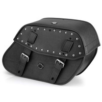 Viking Odin Studded Large Leather Motorcycle Saddlebags For Harley Softail Night Train FXSTB